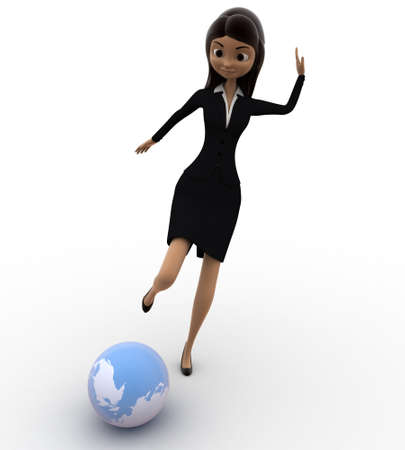 suo: 3d women hitting globe with his legs concept on white isolated background , front angle view