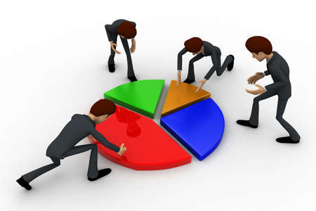 planing: 3d man planing percentage of pie graph concept on white background, top angle view Stock Photo