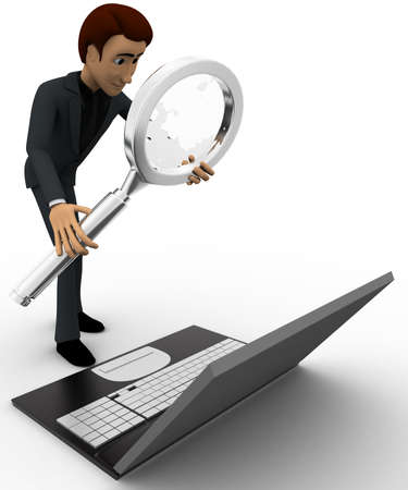 man searching: 3d man searching on laptop with magnifying glass concept on white background, side angle view Stock Photo