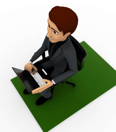 top angle view: 3d man put laptop on chair on white background, top angle view Stock Photo