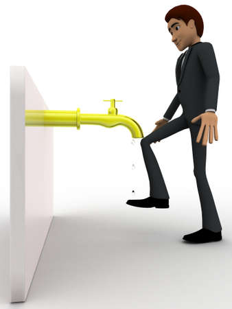under view: 3d man wash leg under water pipe concept on white background, side angle view