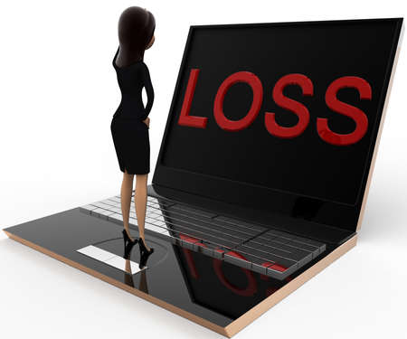 three dimensions: 3d woman looking stress loss concept on white background,  side  angle view