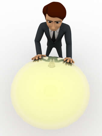 pushing: 3d man pushing big bulb concept on white background, top angle view Stock Photo
