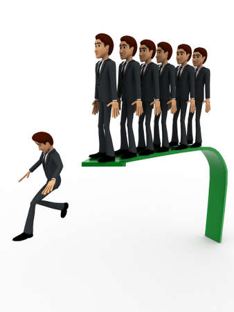 queue: 3d men jumpin from arrow in queue concept on white background, side angle view Stock Photo