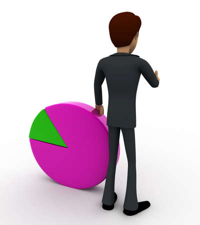 back view man: 3d man standin beside pie graph concept on white background, back angle view Stock Photo