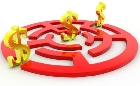 three dimensions: 3d dollar path puzzle concept on white background, side angle view Stock Photo