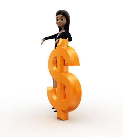 three dimensions: 3d woman with dollar concept on white background, side angle view