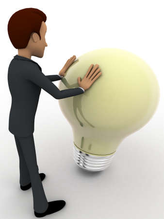 pushing: 3d man pushing big bulb concept on white background, side  angle view