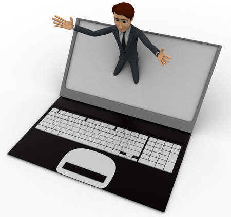 popping: 3d man popping out of laptop screen concept on white background, top angle view Stock Photo
