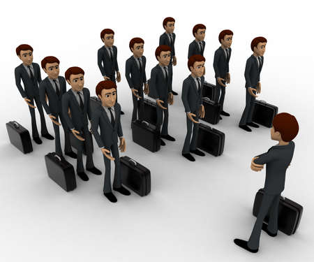 addressing: 3d man addressing group of executives concept on white background, top angle view