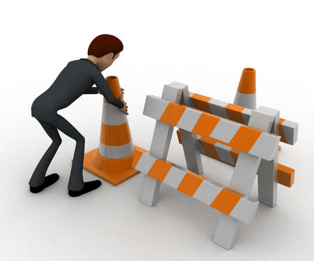 traffic   cones: 3d man with traffic cones and hurdle concept on white background, back angle view Stock Photo