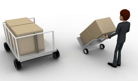 loaded: 3d man pulling trolly loaded with boxes concept on white background, back angle view