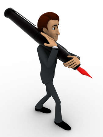 shoulder carrying: 3d man carrying ink pen on shoulder with red knob concept on white background, front angle view