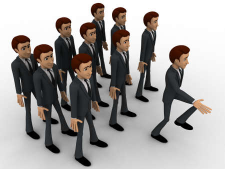 marching: 3d man marching concept on white background, side angle view