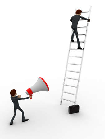 announcing: 3d men climbing ladder and another announcing from mic concept on white background, side angle view