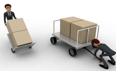 loaded: 3d man pulling trolly loaded with boxes concept on white background, side angle view Stock Photo