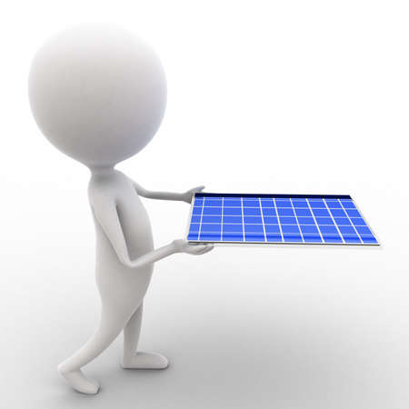 executed: 3d man carrying solar panel in hands concept executed in white isolated background , side angle view Stock Photo