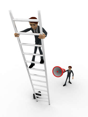 announcing: 3d men climbing ladder and another announcing from mic concept on white background, front angle view