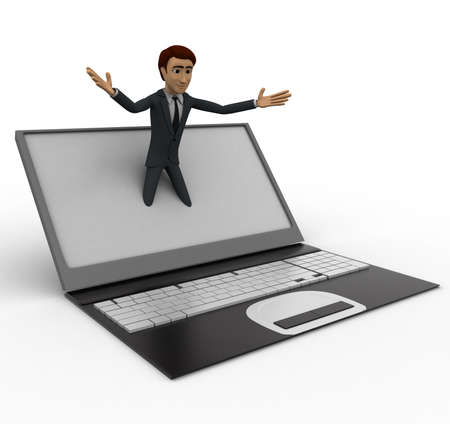 popping: 3d man popping out of laptop screen concept on white background, side angle view