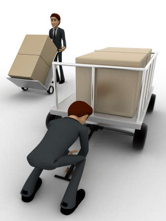 trolly: 3d man pulling trolly loaded with boxes concept on white background, front angle view Stock Photo