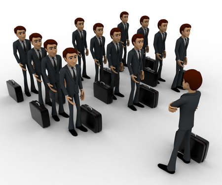 addressing: 3d man addressing group of executives concept on white background, side angle view