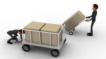 trolly: 3d man pulling trolly loaded with boxes concept on white background, side angle view Stock Photo