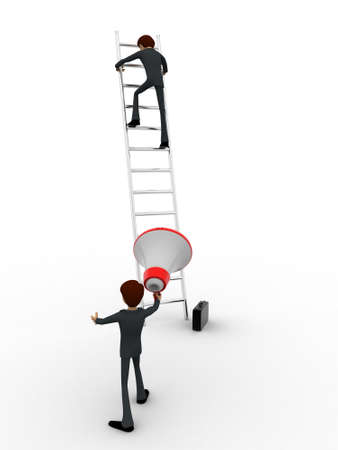 announcing: 3d men climbing ladder and another announcing from mic concept on white background, back angle view Stock Photo