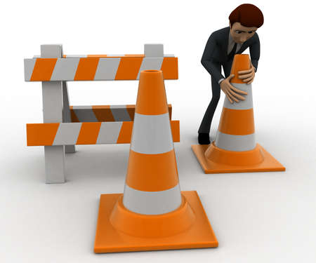 hurdle: 3d man with traffic cones and hurdle concept on white background, front angle view Stock Photo