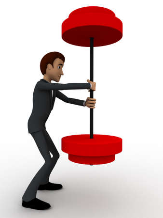 easily: 3d man easily carry weights concept on white background, side angle view