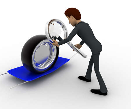 examine: 3d man examine tire concept on white background, back angle view Stock Photo
