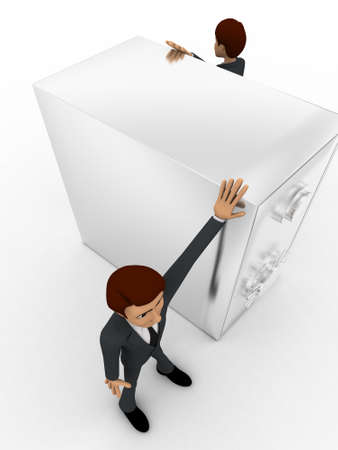 top angle view: 3d two men guard locker concept on white background,  side top  angle view
