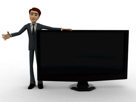 tv screen: 3d man with tv screen concept on white background, front angle view Stock Photo