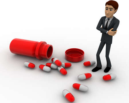 capsules: 3d man with many capsules concept on white background,  top angle view Stock Photo