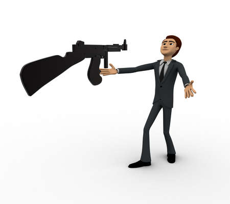 afraid man: 3d man afraid of machine gun concept on white background,  side  angle view Stock Photo