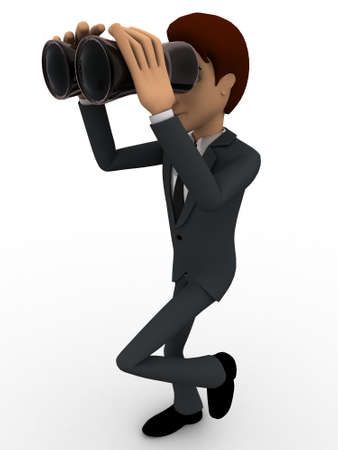 looking at view: 3d man looking through binocular concept on white background, side angle view
