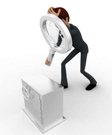 locker: 3d man examine locker concept on white background,  top angle view
