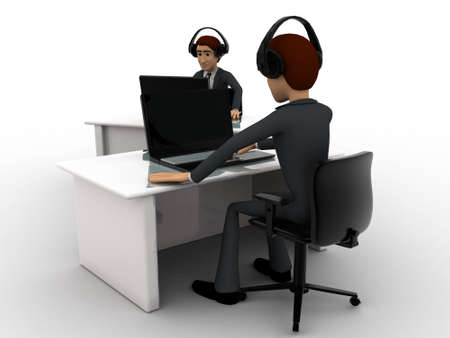 office wear: 3d man working on laptop in office and wear headphone concept on white background, front angle view
