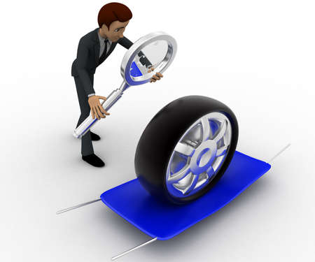 examine: 3d man examine tire concept on white background, side angle view Stock Photo