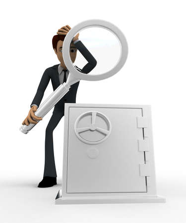 examine: 3d man examine locker concept on white background, front angle view