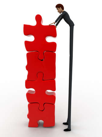 tall man: 3d man team make tall construction of jigsaw puzzle piece concept on white background, front angle view