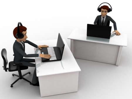 office wear: 3d man working on laptop in office and wear headphone concept on white background, top side angle view