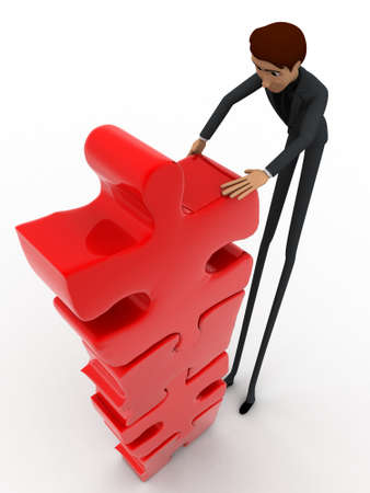 tall man: 3d man team make tall construction of jigsaw puzzle piece concept on white background, top angle view