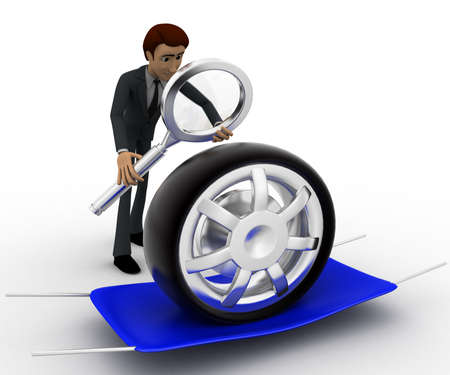 examine: 3d man examine tire concept on white background, front angle view