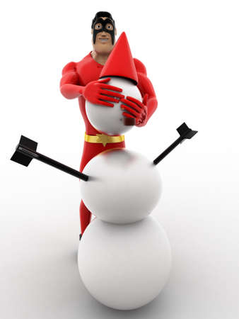 three dimensions: 3d superhero  making snow man with snow concept on white background, front angle view