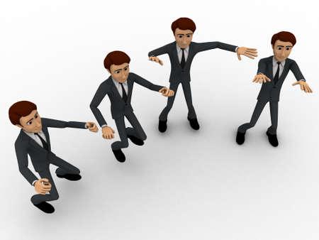 top angle view: 3d concepto de los hombres de baile sobre fondo blanco, �ngulo de vista superior Foto de archivo