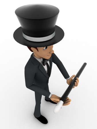 top angle: 3d man magician concept on white background, top angle view Stock Photo