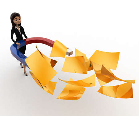 attract: 3d woman attract golden paper with magnet concept on white background, front angle view