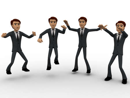 3d dance: 3d men dance concept on white background, front angle view Stock Photo