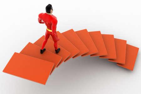 bajando escaleras: 3d superh�roe de bajar desde el concepto escaleras sobre fondo blanco, la espalda �ngulo de visi�n