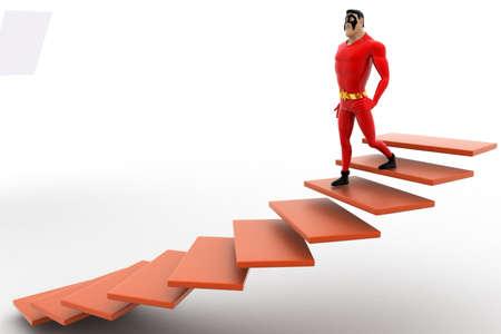 bajando escaleras: 3d superhéroe bajando escaleras desde el concepto sobre fondo blanco, ángulo de vista lateral Foto de archivo